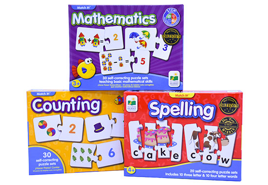 Match It! Puzzle Sets (Spelling/Counting/Mathematics)