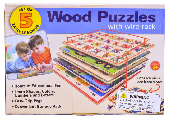 Set of 5 Early Learning Wood Puzzles with Wire Rack