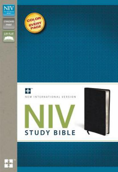 NIV Study Bible (Thumb Indexed, Black Top Grain Leather)