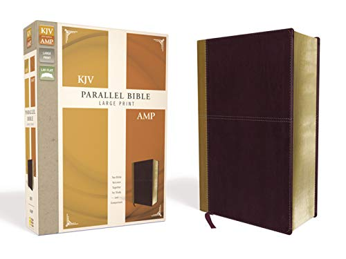 KJV/AMP Parallel Bible (Large Print, Camel/Burgundy Leathersoft)