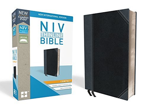 NIV Compact Thinline Bible (Black/Gray Leathersoft)