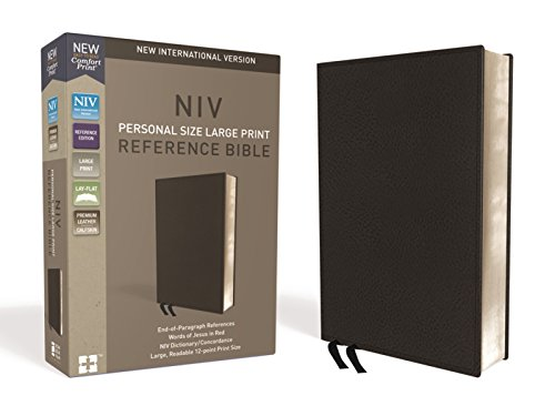 NIV Personal Size Large Print Reference Bible (Black Premium Calfskin Leather)