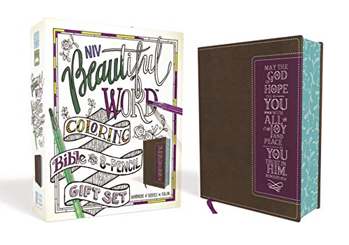 NIV Beautiful Word Coloring Bible and 8-Pencil Gift Set (Brown/Purple Leathersoft)