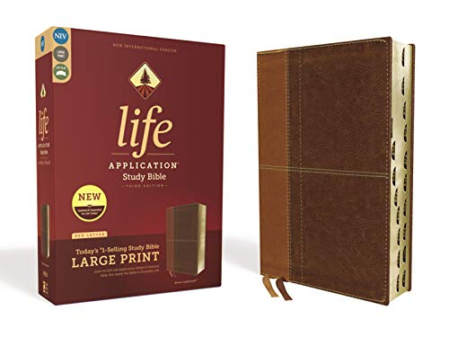 NIV, Large Print, Life Application Study Bible (Thumb Indexed, Third Edition, Brown, Leathersoft)