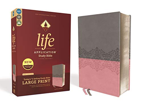 NIV, Life Application Large Print Study Bible - Third Edition (Gray/Pink Leathersoft)