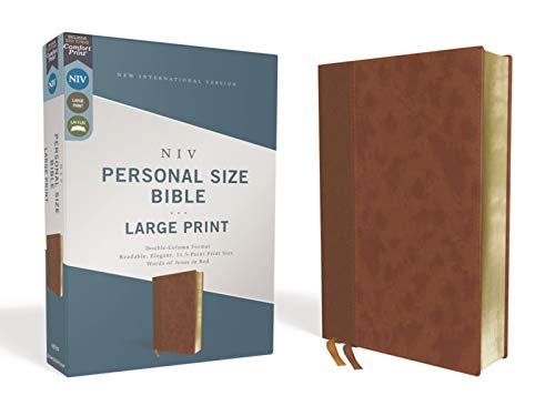 NIV Personal Size Bible (Large Print, Brown Leathersoft)