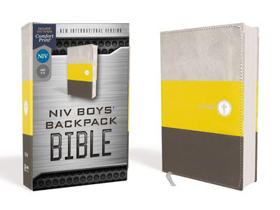 NIV, Boys' Backpack Bible (Yellow/Charcoal Leathersoft)