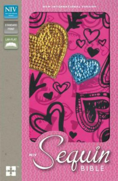 NIV Sequin Bible (Hot Pink Hearts Padded)
