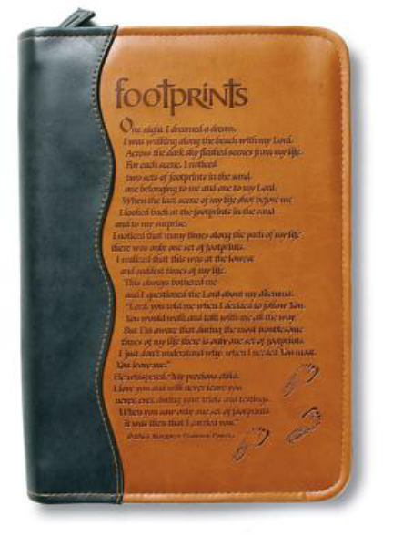 Footprints Italian Duo-Tone- Brown Extra Large (Bible Cover)