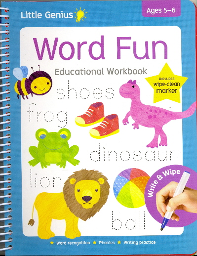 Word Fun Educational Wipe-Clean Workbook with Marker (Little Genius, Ages 5-6)
