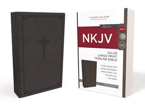 NKJV Value Large Print Thinline Bible (5023, Charcoal Leathersoft)