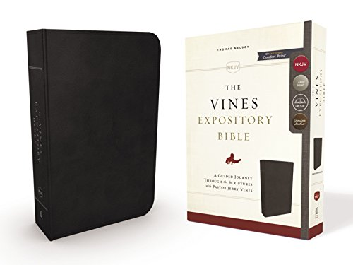 The NKJV, Vines Expository Comfort Print Bible (3376BK - Black Genuine Leather)