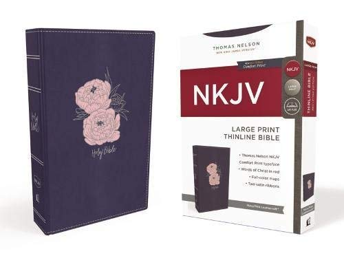 NKJV Thinline Bible (Large Print, Navy/Pink Leathersoft)
