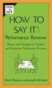 How To Say It: Performance  Reviews