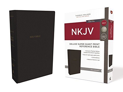 NKJV Deluxe Super Giant Print Reference Bible (#2853BK - Black Leathersoft)