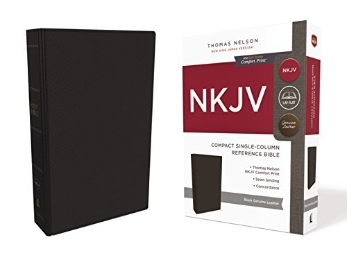 NKJV Compact Single-Column Reference Bible (Black Genuine Leather)