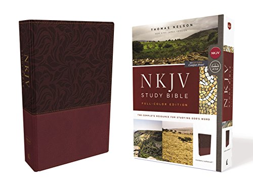 NKJV Full-Color Study Bible (4543CR, Cranberry Leathersoft)