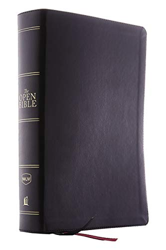 NKJV Comfort Print, The Open Bible Complete Reference System (Thumb-Indexed, #5453BK - Black Leathersoft)