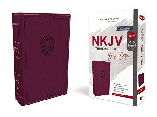 NKJV Comfort Print Thinline Bible Youth Edition (8193BRG, Berry Leathersoft)