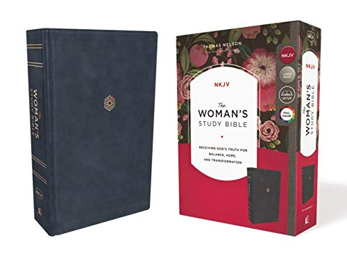 NKJV The Woman's Study Bible (9923BL, Navy Leathersoft, Large Print)
