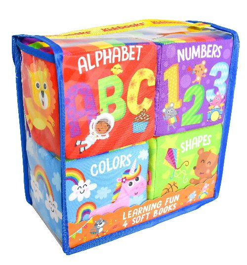 Learning Fun: 4 Soft Books (Alphabet/Numbers/Colors/Shapes)