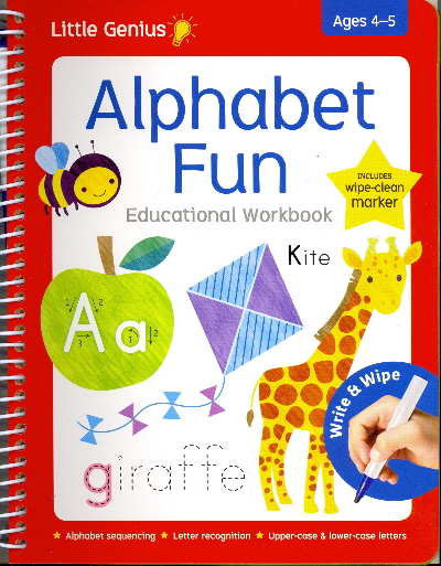 Alphabet Fun Educational Wipe-Clean Workbook with Marker (Little Genius, Ages 4-5)