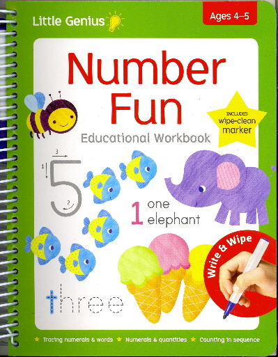 Number Fun Educational Wipe-Clean Workbook with Marker (Little Genius, Ages 4-5)