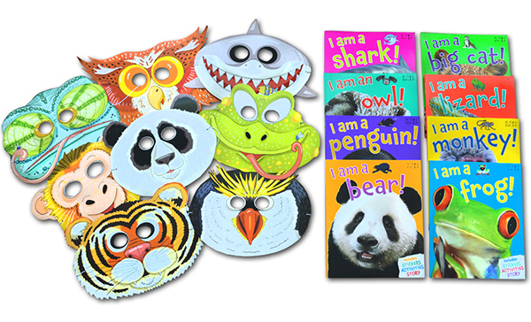 Animal Party Pack (8 Books, 8 Masks and Stickers)