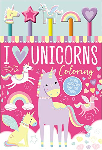 I Love Unicorns Coloring (with 5 Pencils and Erasers)